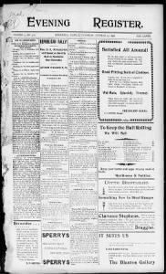 Sample Evening Register front page