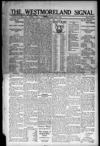 Sample Westmoreland Recorder and the Westmoreland Signal front page