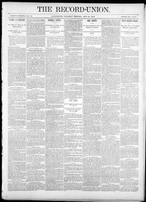 The Record-Union from Sacramento, California on May 26, 1892 · Page 1