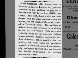 1880 account of capture of Geronimo by US Army