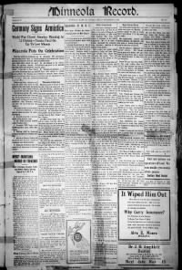 Sample Minneola Record front page