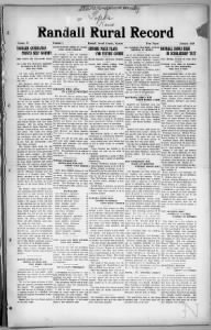 Sample Randall Rural Record front page
