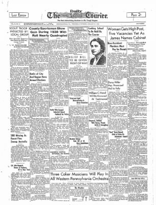 The Daily Courier from Connellsville, Pennsylvania on January 11, 1939 · Page 1