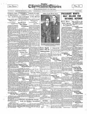 The Daily Courier from Connellsville, Pennsylvania on January 12, 1939 · Page 1