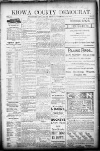 Sample Kiowa County Democrat front page