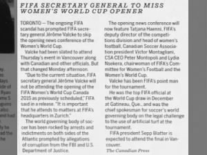 FIFA Secretary General to miss Women's World Cup opener