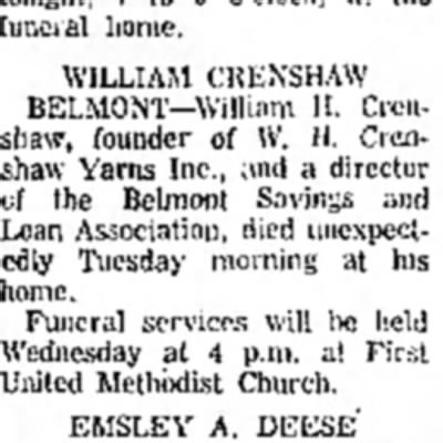 Obituary for my step grandfather William Crenshaw -