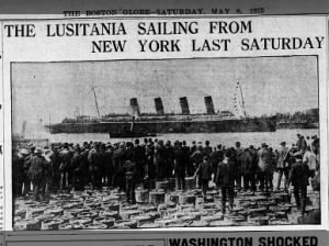 Photo of the Lusitania sailing from New York