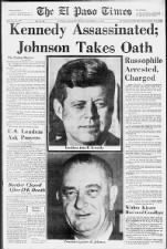 Newspaper front page coverage of the John F. Kennedy assassination in Dallas, Texas
