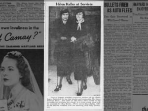 Photo of Helen Keller and Polly Thompson at funeral for Anne Sullivan Macy