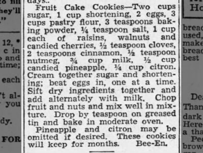 1938: Fruit Cake Cookies recipe