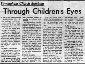 4th-grade children describe their thoughts about the Birmingham Church Bombing