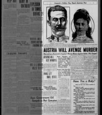 Canadian newspaper headlines announcing assassination of Archduke Franz Ferdinand and his wife