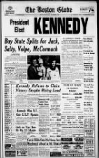 Massachusetts newspaper front page coverage of JFK winning the 1960 presidential election