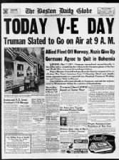 Massachusetts V-E Day newspaper front page: