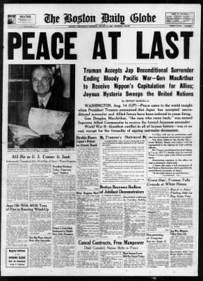 The Boston Globe from Boston, Massachusetts on August 15, 1945 · 1