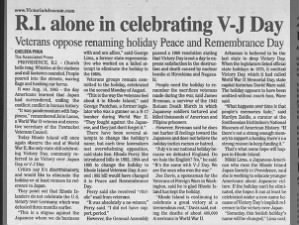 Article about Rhode Island as last state observing V-J Day & perception of discrimination of name