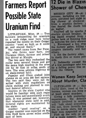 Littlefork, MN -- Farmers Report Possible State Uranium Find
