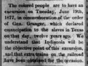 Juneteenth celebration in Indianola, Texas, 1877, to commemorate General Order No. 3