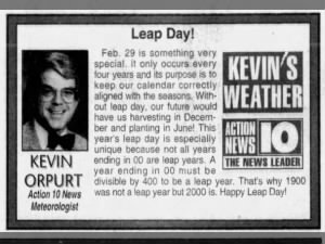 Succinct explanation of the purpose of Leap Day from February 29, 2000