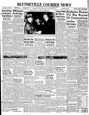 The Courier News from Blytheville, Arkansas on December 22, 1947 · Page 1