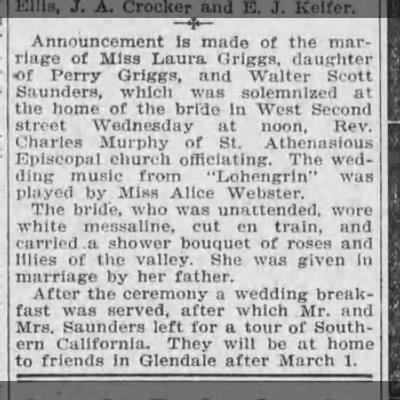 Laura Griggs marries, Los Angeles Herald (Los Angeles, Los Angeles, CA) 2 Jan 1910, (copied) pg 11 -