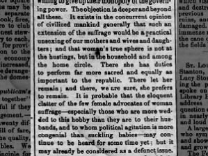 Excerpt from anti-suffrage editorial arguing women's place is in the home, not the voting booth