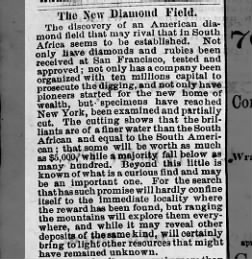 News of the rich diamond fields hits the newspapers