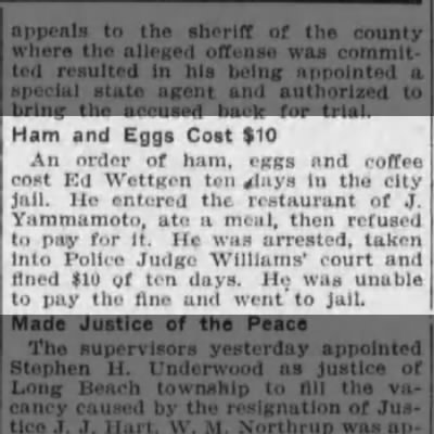 ed wettgen in jail for not paying for ham and eggs page 5 los angeles herald december 28 1909 -