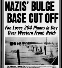 """Nazi's Bulge Base Cut Off; Foe Loses 204 Planes in Day Over Western Front, Reich"""
