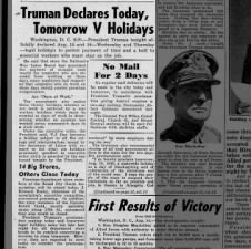 President Harry Truman declares August 15-16 as V-J Day holidays