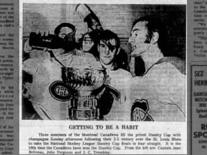 Canadiens hockey team players pour champagne into Stanley Cup following 2-1 victory in 1969 finals