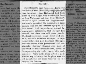 Northern newspaper editorial about the Union loss at Chancellorsville