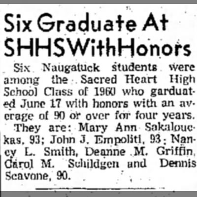 John James Empoliti graduates from Sacred Heart High School with 93 average for 4 years. - Six Graduate At SHHSWithHonors Six. Naugatuck...
