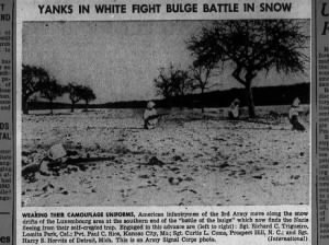Photo of American infantrymen of the 3rd Army dressed in white battling in the snow