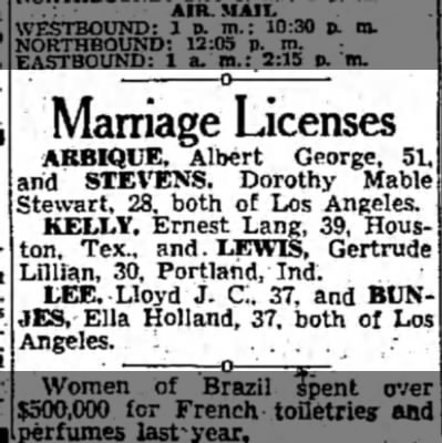 Ernest Lang Kelly and Gertrude Lillian Lewis Marriage License -