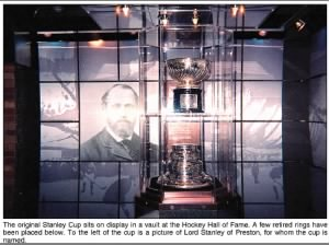 Photo of the original Stanley Cup as seen in the Hockey Hall of Fame beside a photo of Lord Stanley