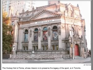 The Hockey Hall of Fame, ice hockey museum established in 1943 and located in Toronto, Canada.