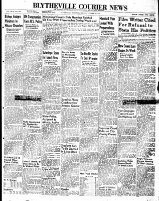 The Courier News from Blytheville, Arkansas on October 27, 1947 · Page 1