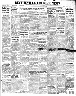 The Courier News from Blytheville, Arkansas on October 31, 1947 · Page 1