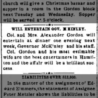 Will Entertain Gov. McKinley - WILL ENTERTAIN 00V. X KIHIEY, Col, and Mrs....