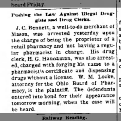 John Calvin Bennett Arrested. The Journal News. Hamilton, OH. 18 Nov 1891 - Tunning the La» Against Illegal Druggist*...