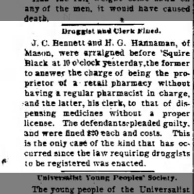 "John Calvin Bennett Arraigned. The Journal News. Hamilton, OH. 21 Nov 1891 - Uruft**t »"">* Clerk Ffiicd. J. C. Bennett and..."