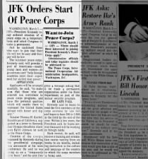 President John F. Kennedy creates Peace Corps by Executive Order in 1961