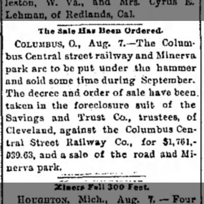 Blurb about selling Minerva Park - The Sale Hal Been Ordered. COLUMBUS, 0., Aug....