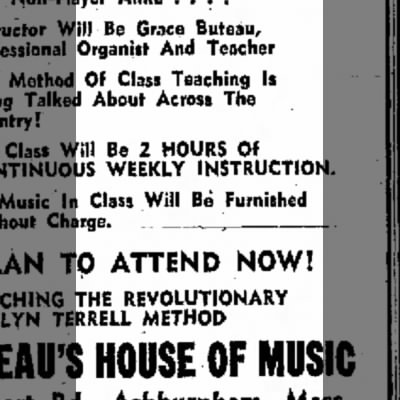Ad for Grace Buteau music lessons 1972 using innovative teaching method