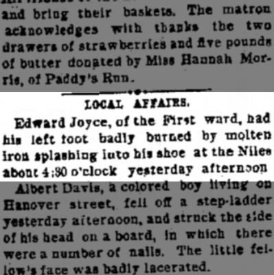 - LOCAL AFFAIRS. Edward Joyce, of tbe Fim ward,...