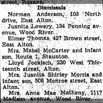 Dismissal from Wood River Township Hospital Lloyd 15 Feb 1951 -