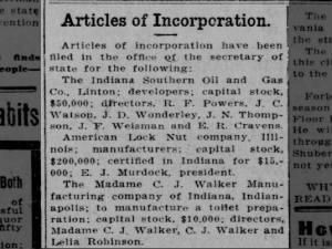 Articles of incorporation filed for Madam C.J. Walker Manufacturing Company of Indiana, 1911
