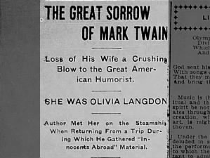 Headline announces the death of Olivia Langdon, wife of Mark Twain